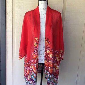 Sheer, Bright, Floral Print Kimono